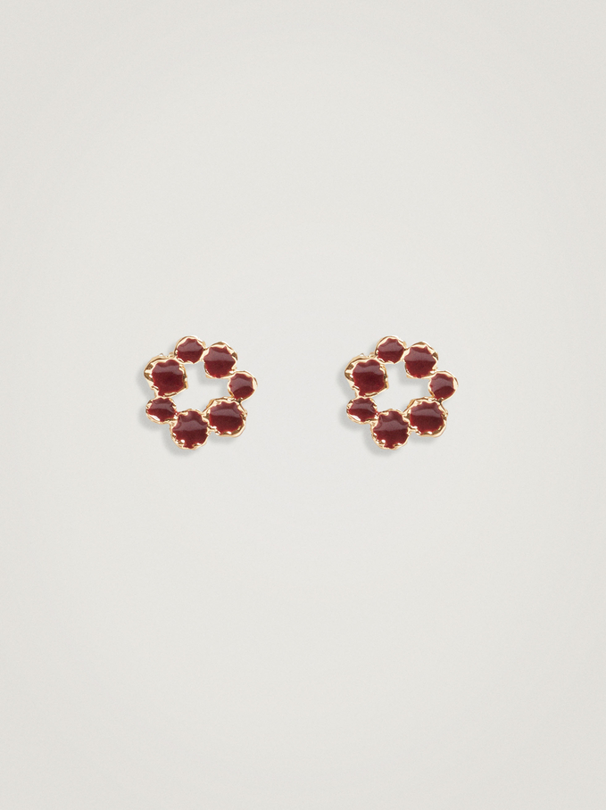 Short Flower Earrings, Bordeaux, hi-res