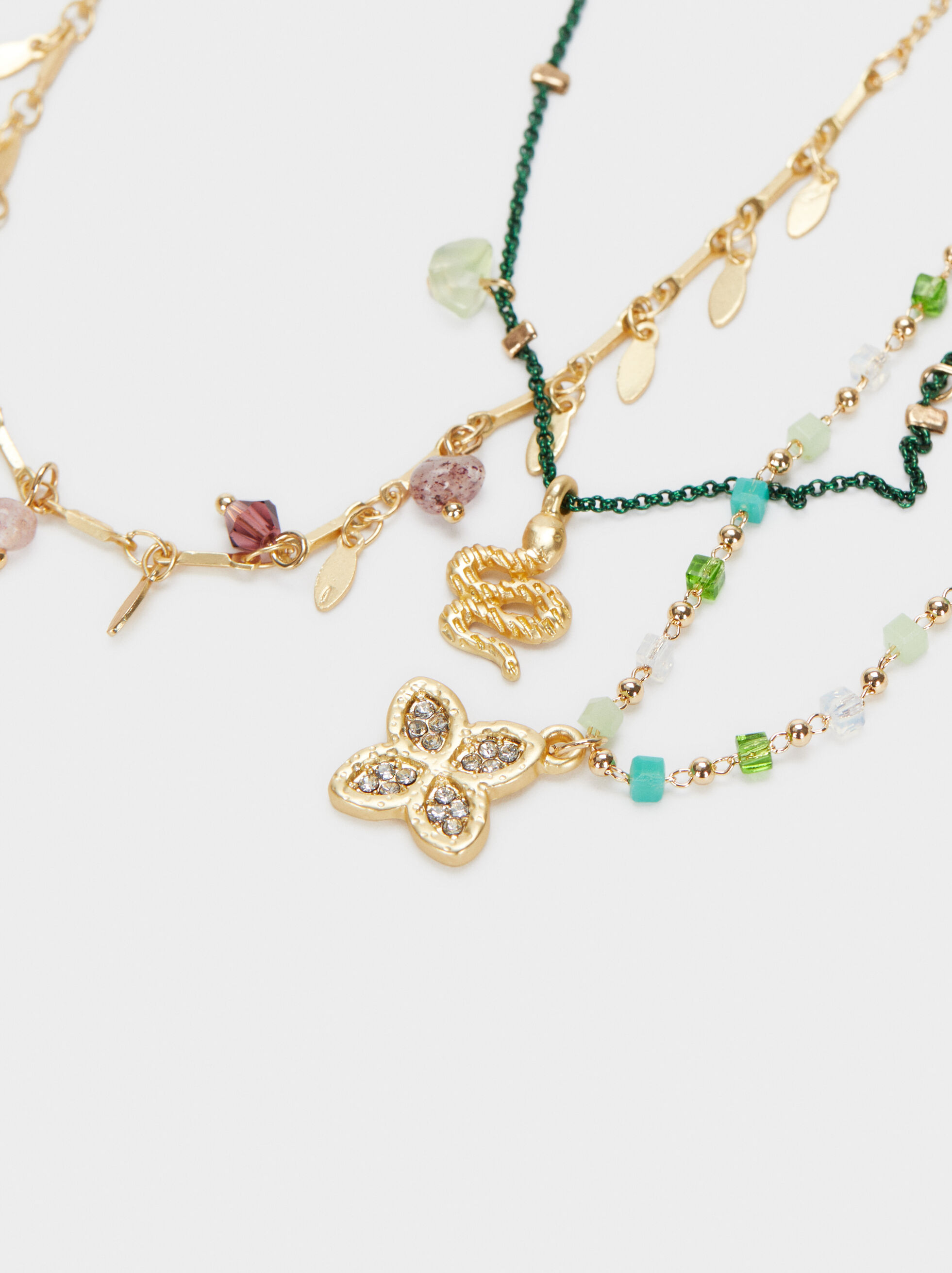 Set Of Necklaces With Stones And Charms, Multicolor, hi-res