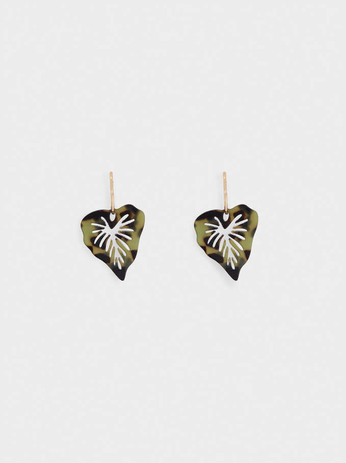 Leaf Hoop Earrings, Multicolor, hi-res
