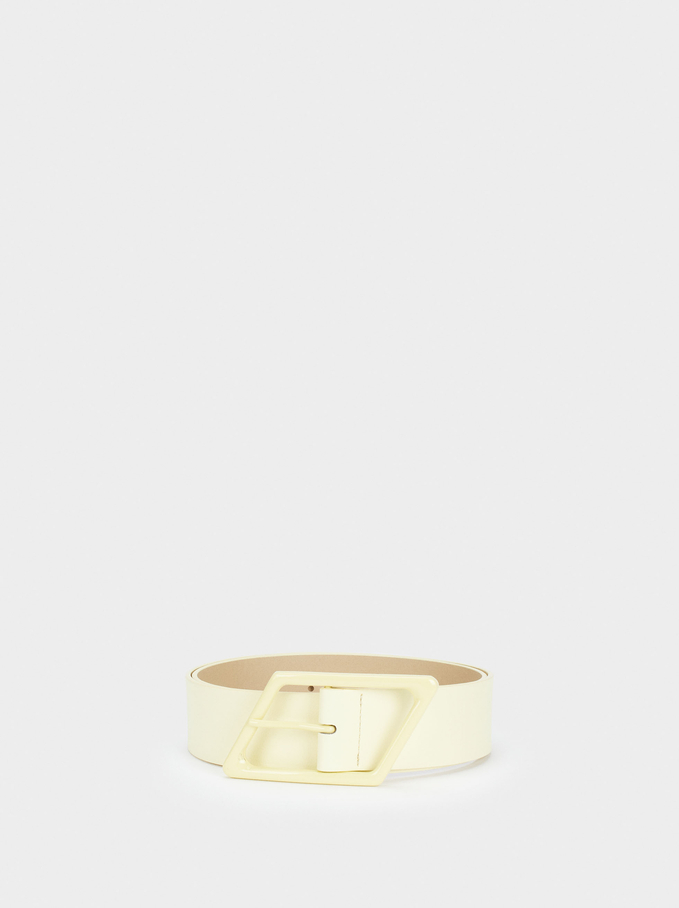 Plain Belt With Buckle, Yellow, hi-res