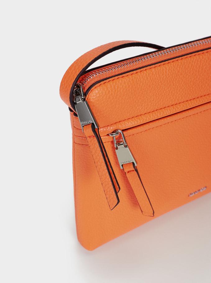 Shoulder Bag With Outer Pocket, Orange, hi-res