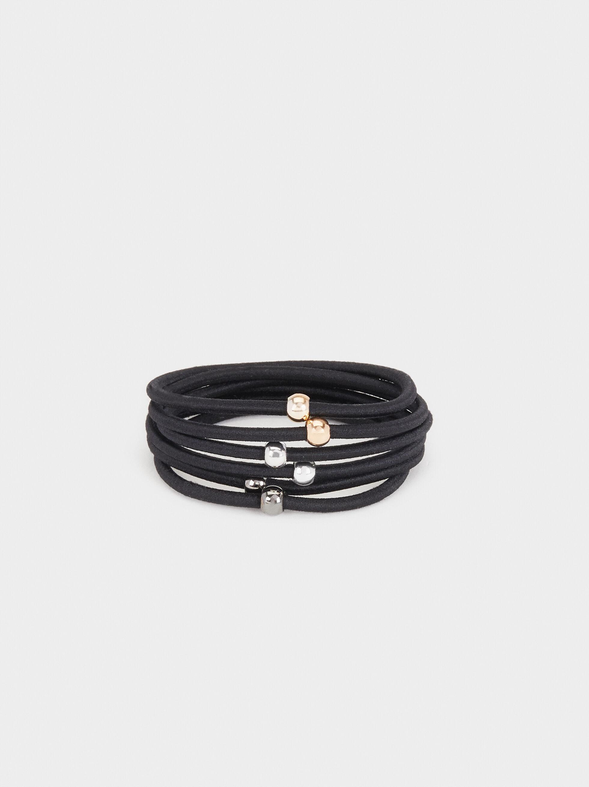 Set Of Hair Ties With Metal Detail, Black, hi-res