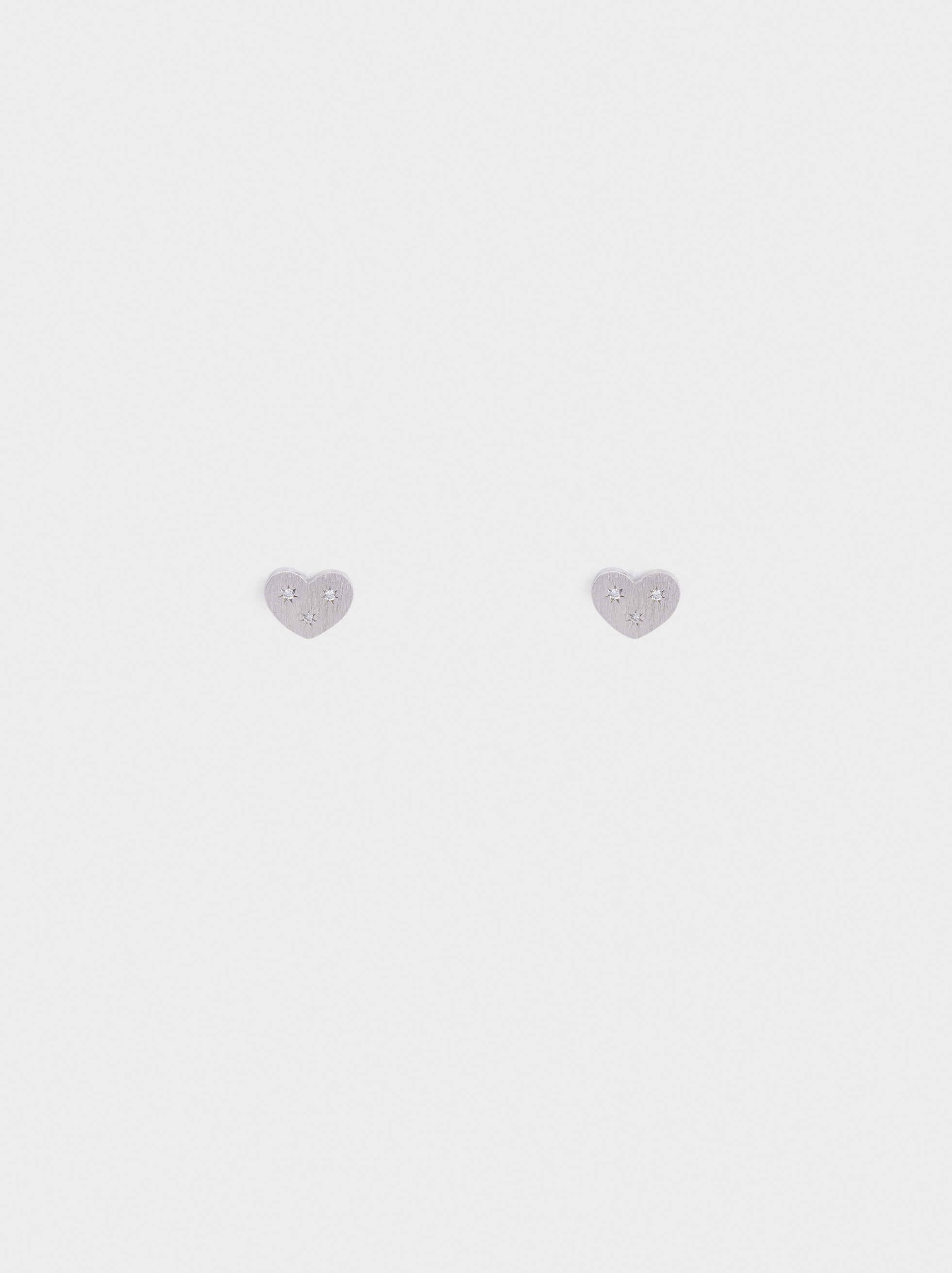 Pendientes Cortos De Plata 925 Corazón, Plateado, hi-res