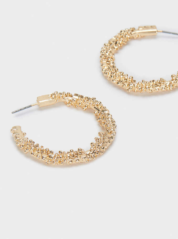 Hoop Earrings With Raised Effect, Golden, hi-res