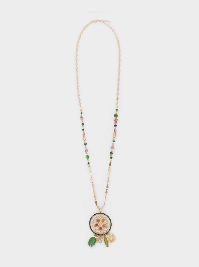 Stone And Crystal Long Necklace, Multicolor, hi-res