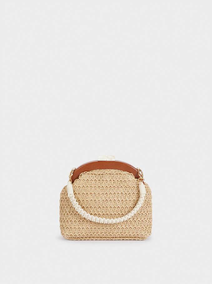 Woven Crossbody Bag With Double Strap, Ecru, hi-res