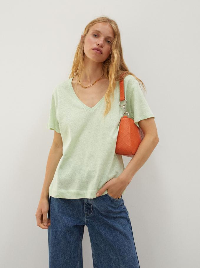 Linen V-Neck T-Shirt, Green, hi-res