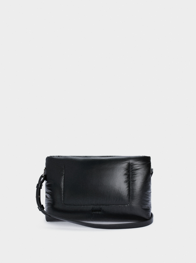 Quilted Handbag With Double Strap, Black, hi-res