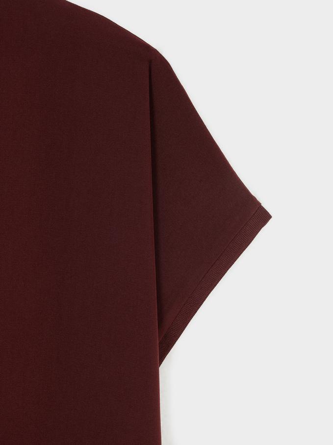 Vestito Oversize Scollo A V, Bordeaux, hi-res