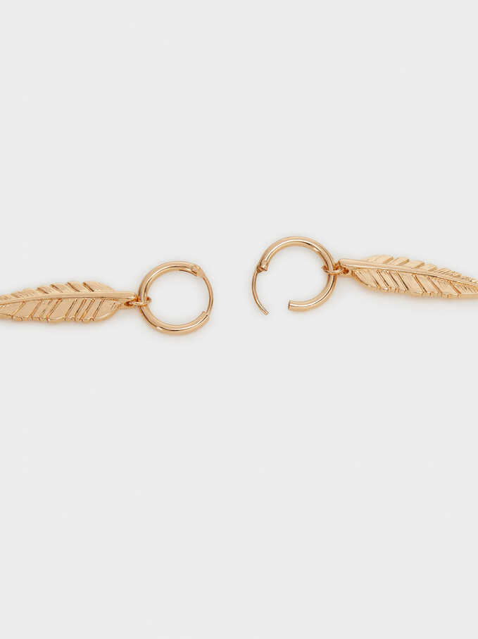Hoop Fever Long Feather Earrings, Golden, hi-res