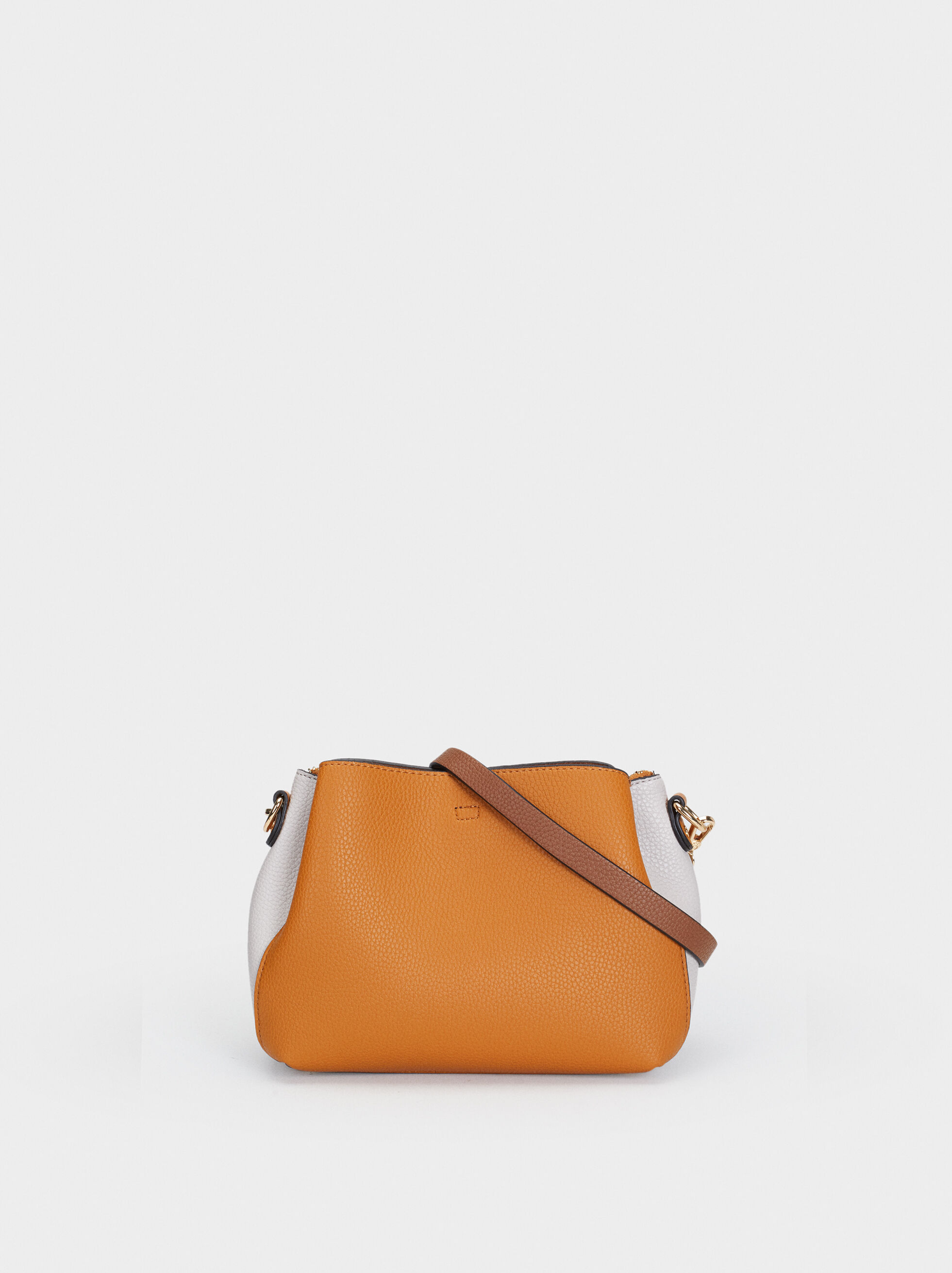 Embossed Shoulder Bag, Mustard, hi-res