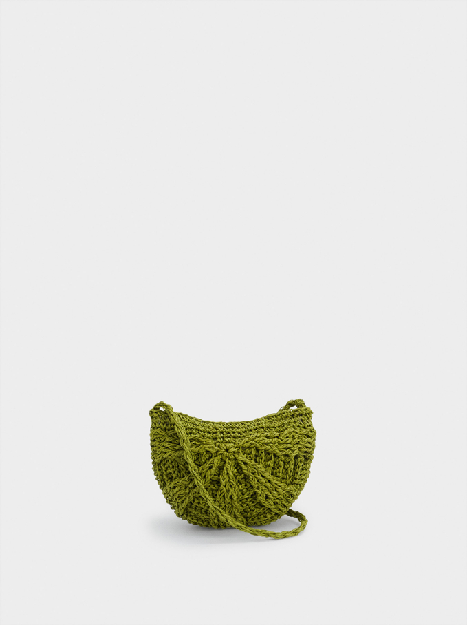 Straw Crossbody Bag With Pendant, Green, hi-res
