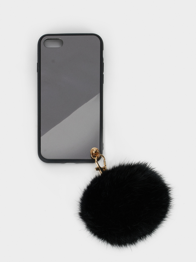 Iphone 6/7/8 Case With Pompom, Black, hi-res