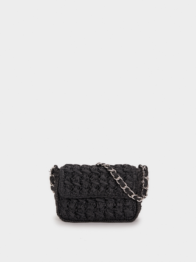 Braided Raffia Crossbody Bag, Black, hi-res
