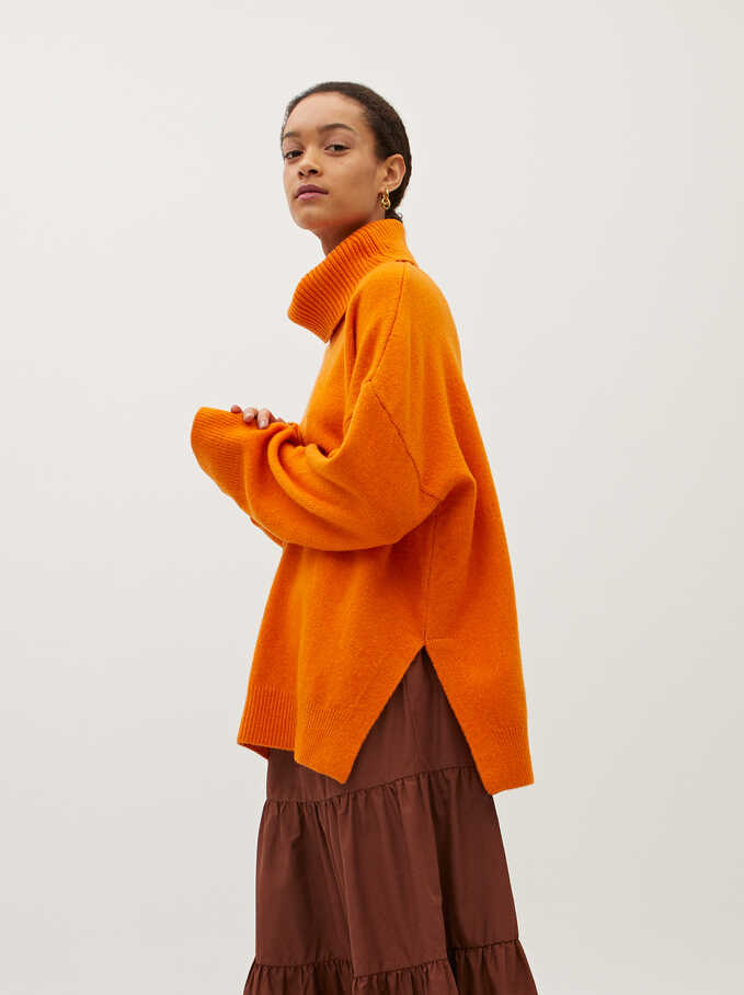 Limited Edition Knitted High Neck Sweater, Orange, hi-res