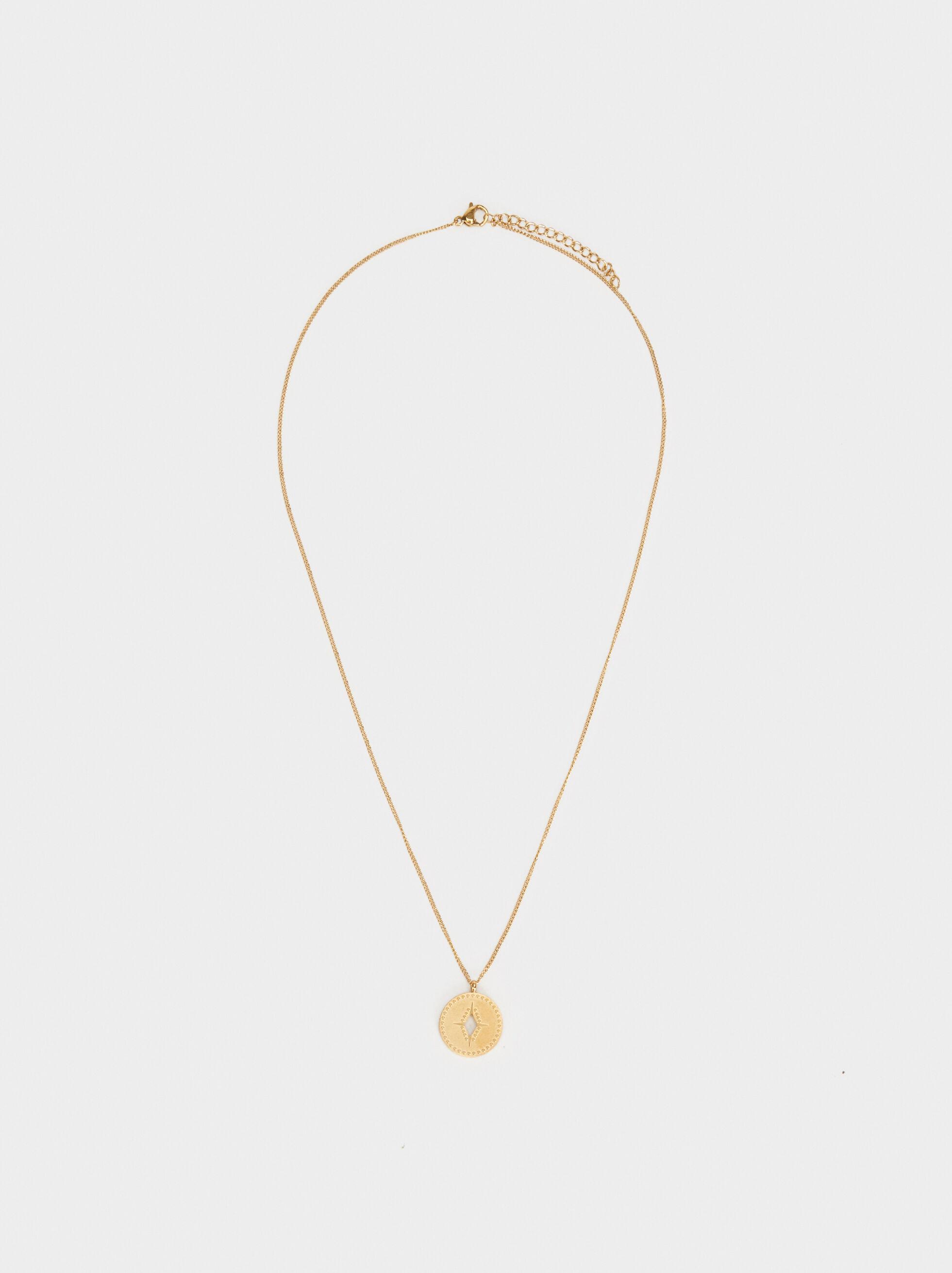 Long Steel Necklace, Golden, hi-res