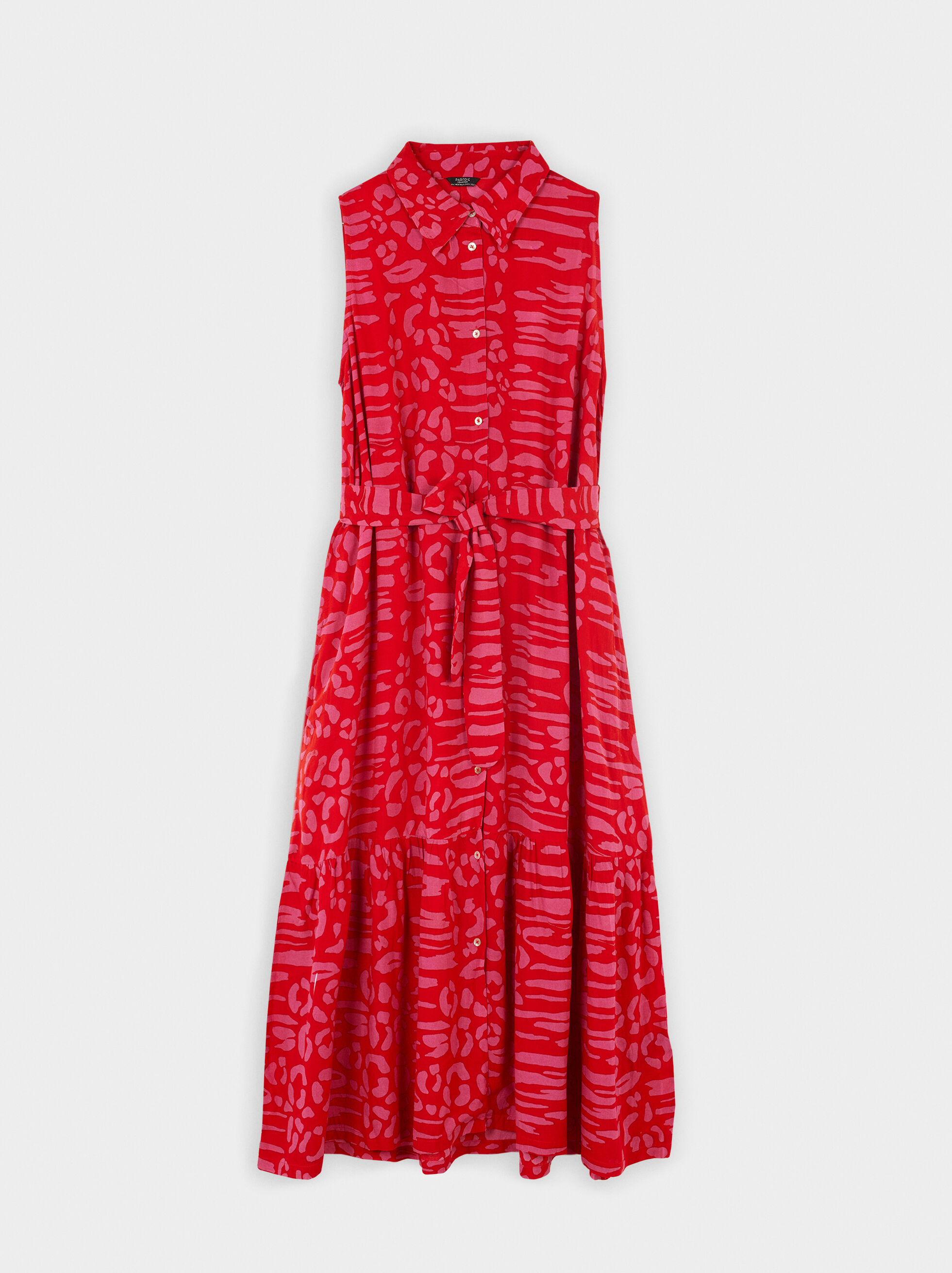 Printed Button-Up Dress, Red, hi-res