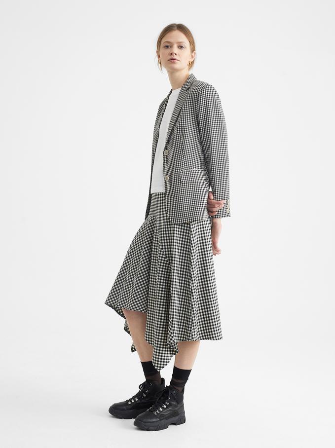 Gingham Check Skirt, Black, hi-res