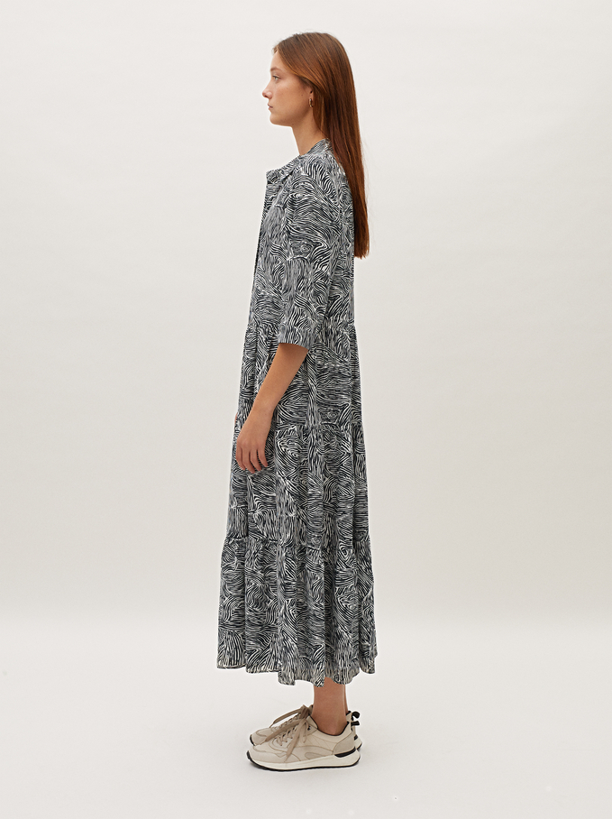 Printed Tiered Dress, White, hi-res