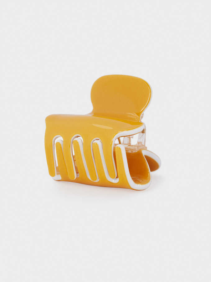 Plain Hair Claw, Mustard, hi-res