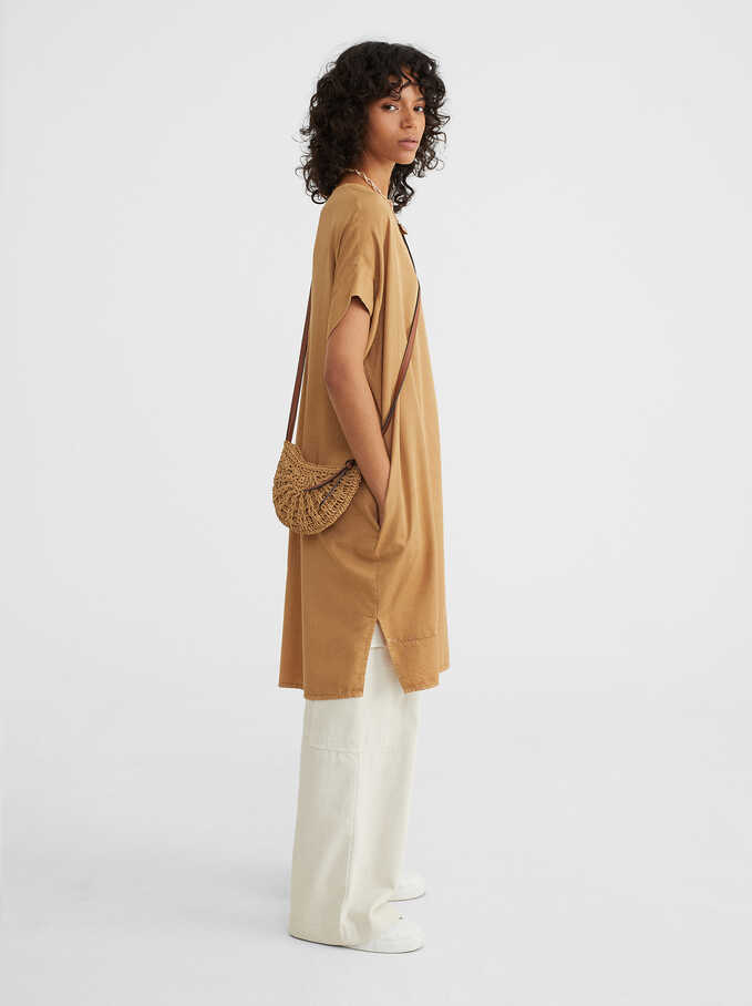 Online Exclusive Round-Neck Dress, Camel, hi-res