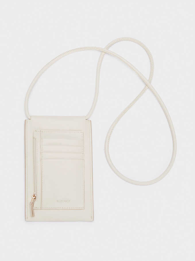 Phone Case With Shoulder Strap, Ecru, hi-res