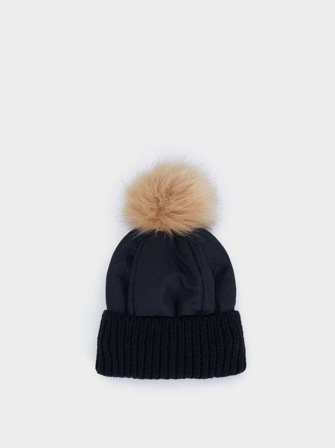 Pompom Hat, Black, hi-res