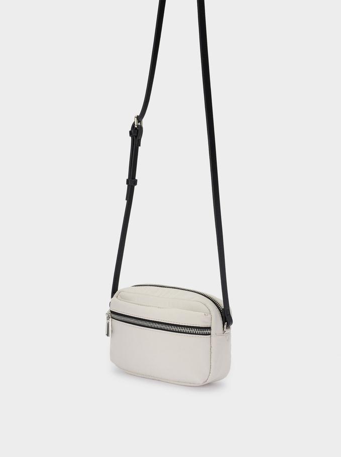 Nylon Crossbody Bag , White, hi-res