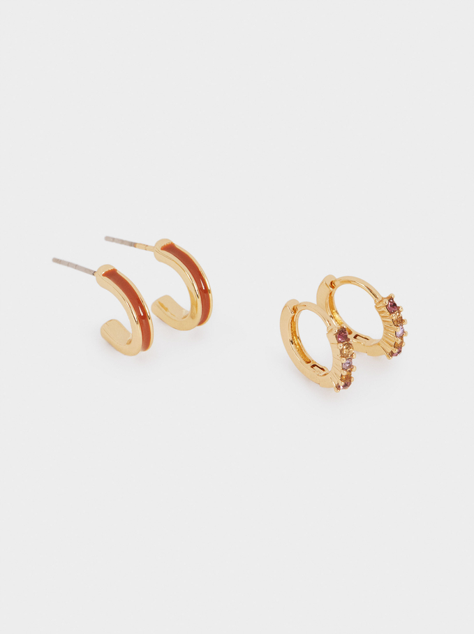 Set Of Hoop Earrings With Crystals, Multicolor, hi-res