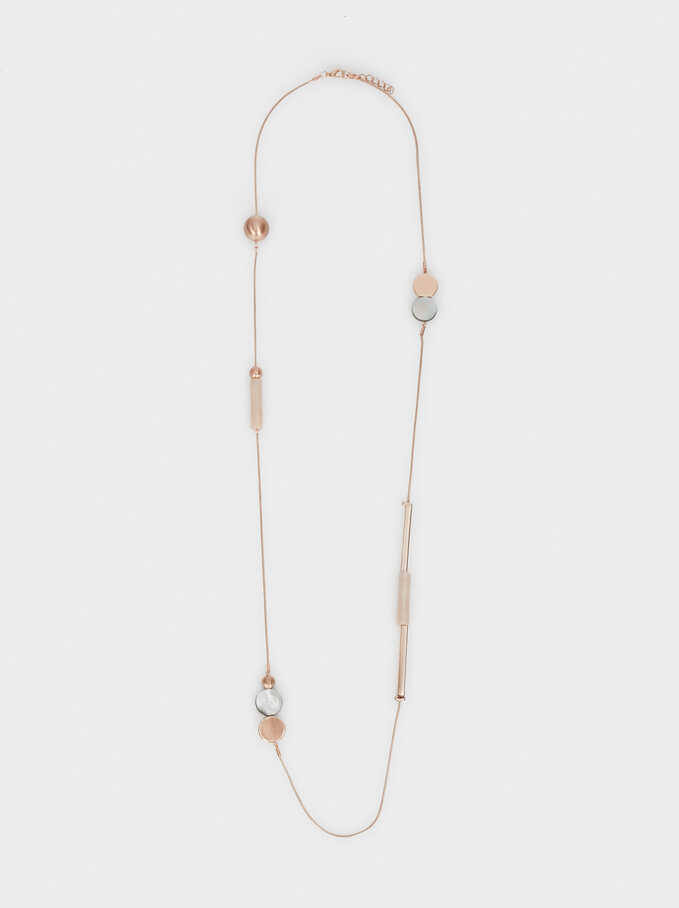 Long Necklace With Rose Gold Pendants, Orange, hi-res