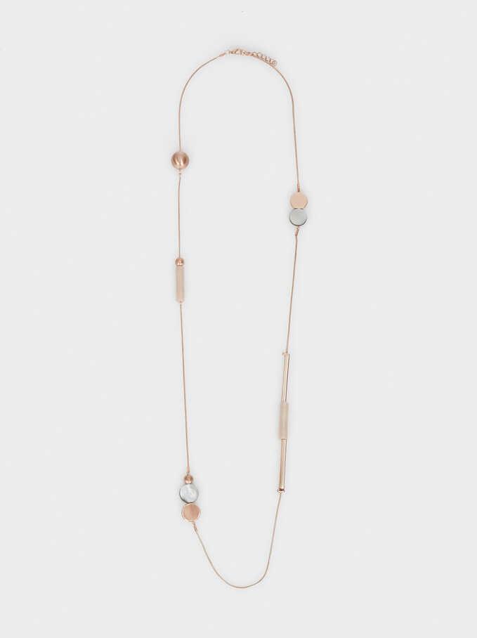 Long Necklace With Pendants, Orange, hi-res