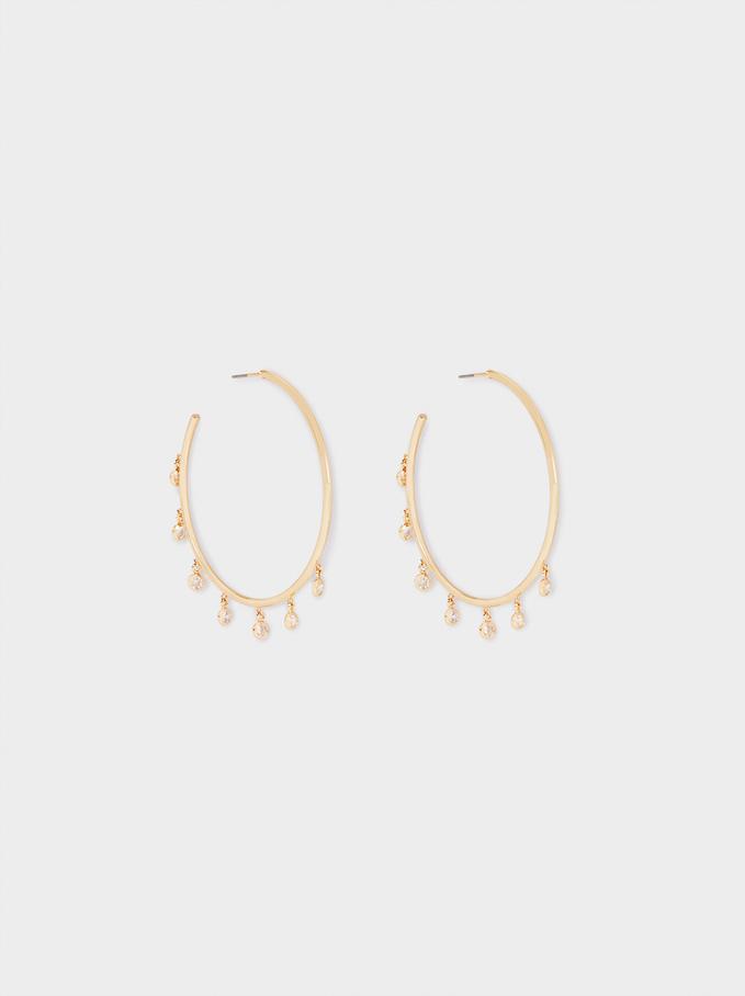 Large Hoop Earrings With Zirconia, Golden, hi-res
