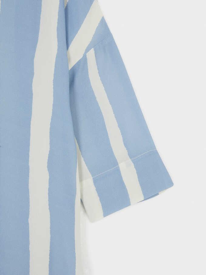 Vestido Camisero De Rayas, Azul, hi-res