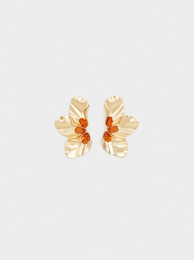 Cherry Blossom Medium Stud Earrings, Camel, hi-res