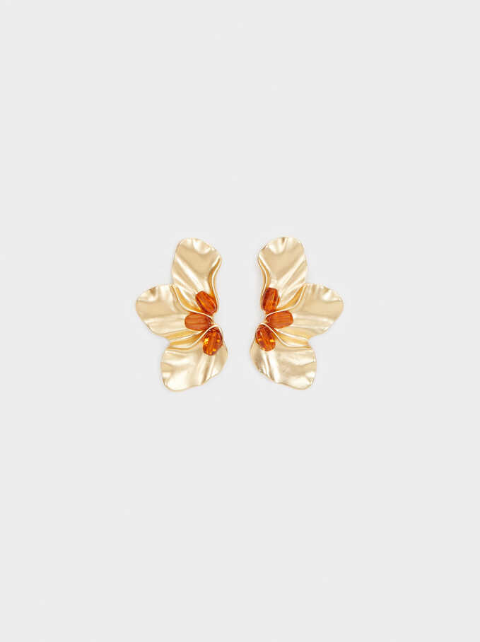 Flower Earrings With Crystals, Camel, hi-res