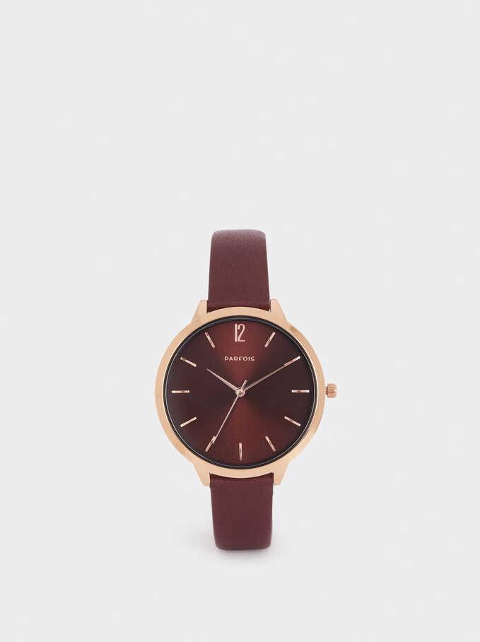 Reloj De Pulsera Textura Piel, Burdeos, hi-res