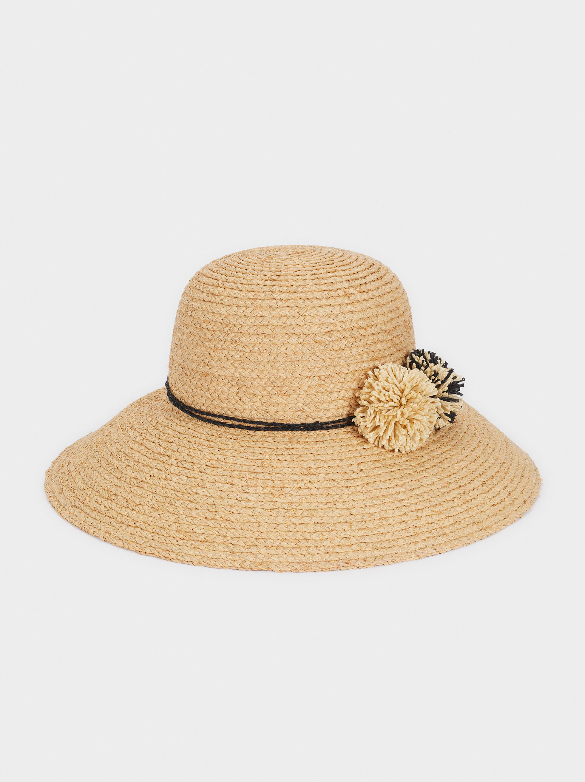 Sombrero De Paja Detalle Pompón, Beige, hi-res