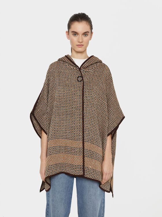 Hooded Poncho, Camel, hi-res