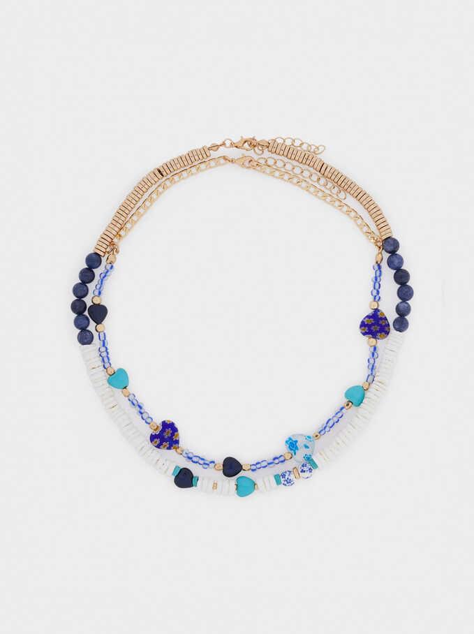 Conjunto De Collares Combinados Con Corazones, Azul, hi-res