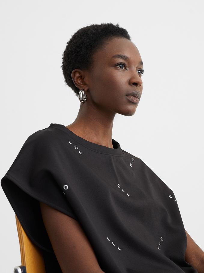 Studded Dress, Black, hi-res