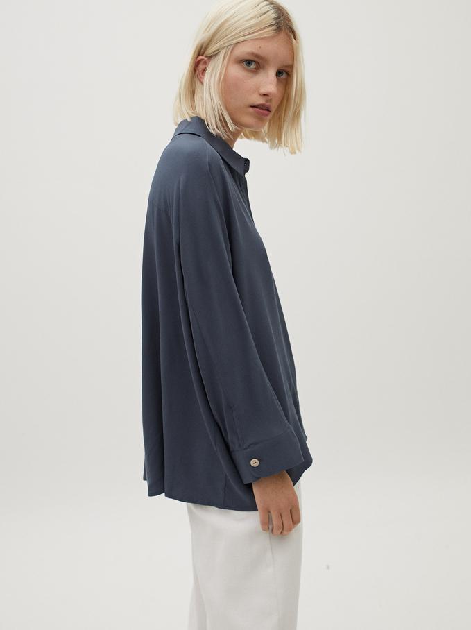 Flowing Long-Sleeved Shirt, Blue, hi-res
