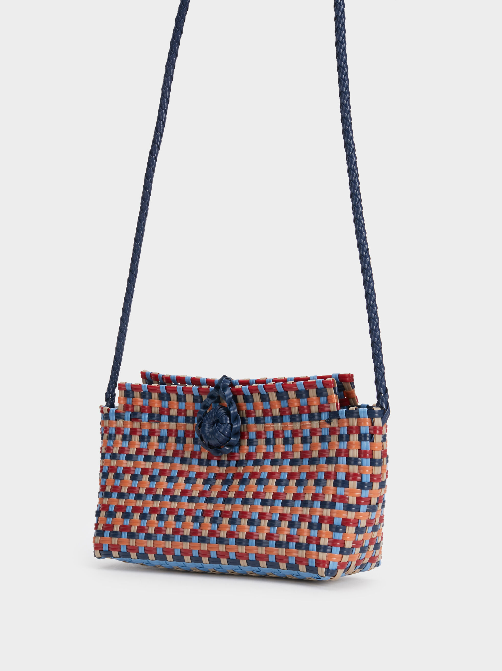 Braided Crossbody Bag, Navy, hi-res
