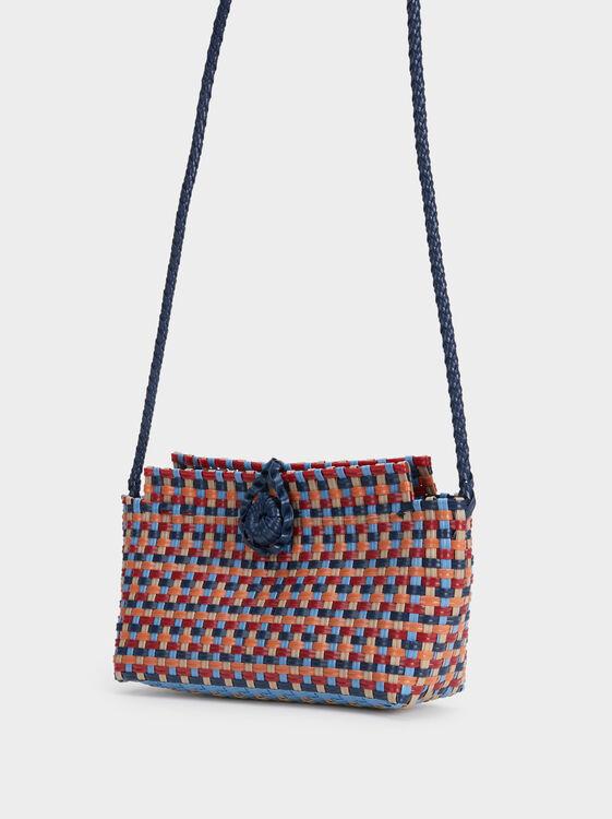 Braided Crossbody Bag, Navy, hi-res