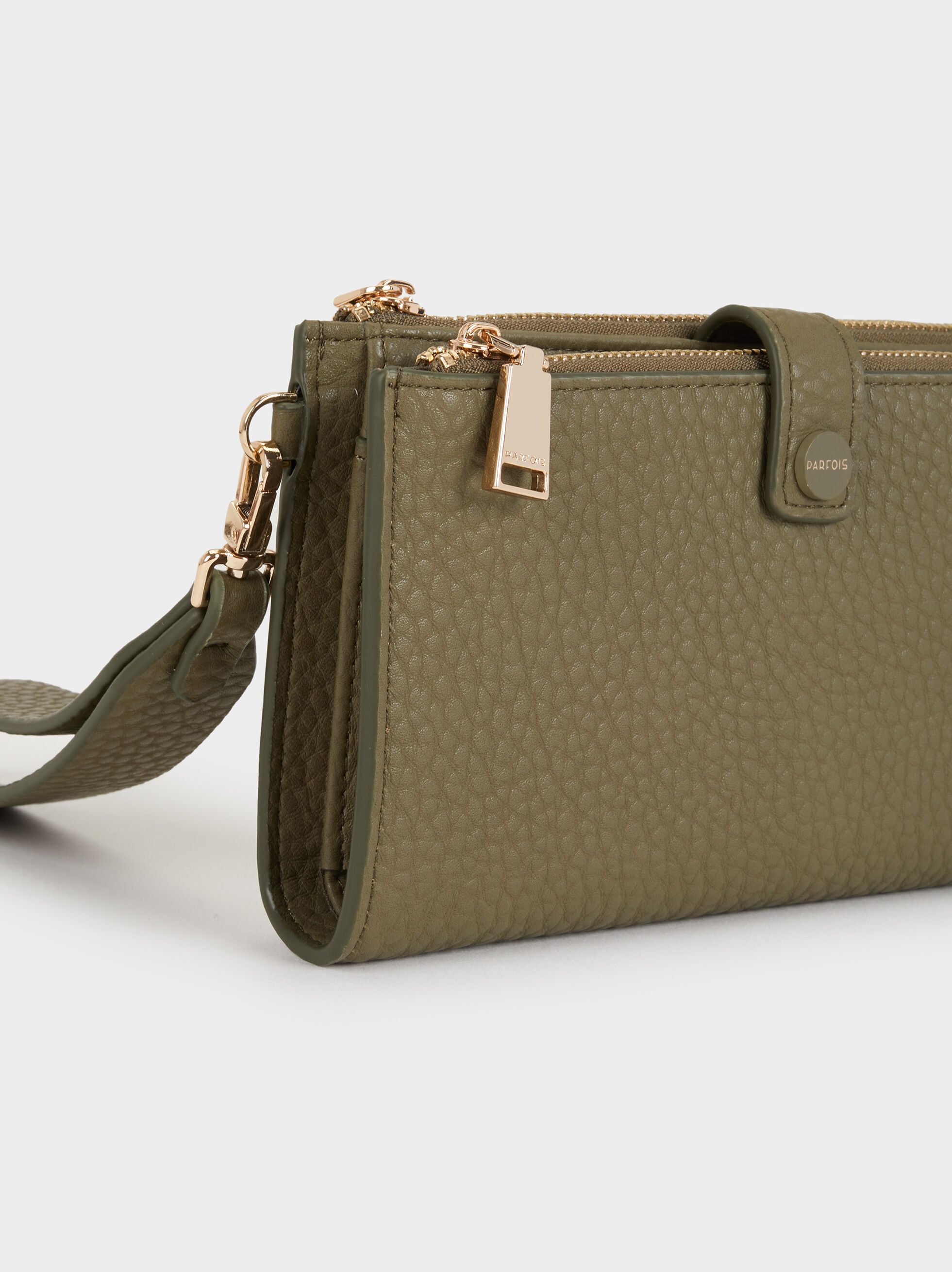 Large Faux Leather Purse, Khaki, hi-res