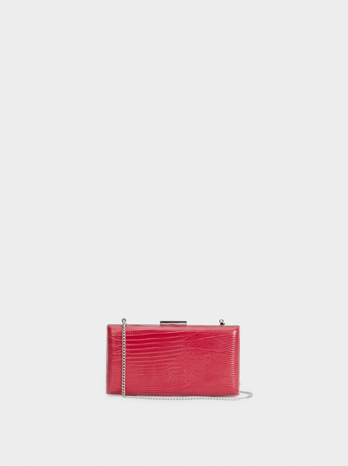 Embossed Snakeskin-Effect Evening Clutch, Red, hi-res