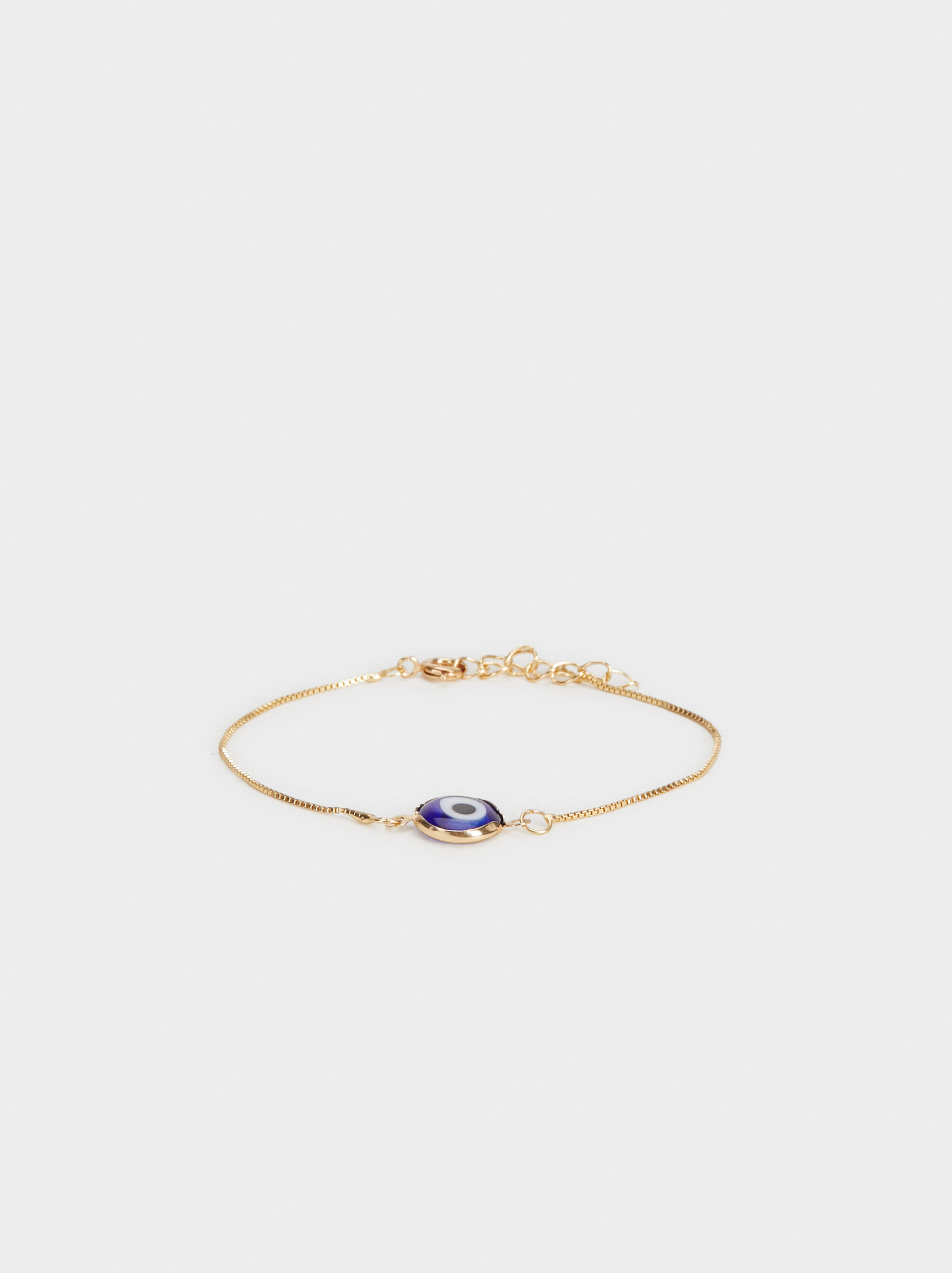Gold Bracelet With Eye Charm, Blue, hi-res