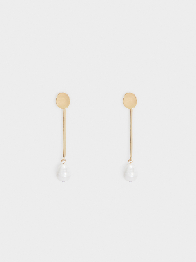 Long Pearl Earrings, Golden, hi-res