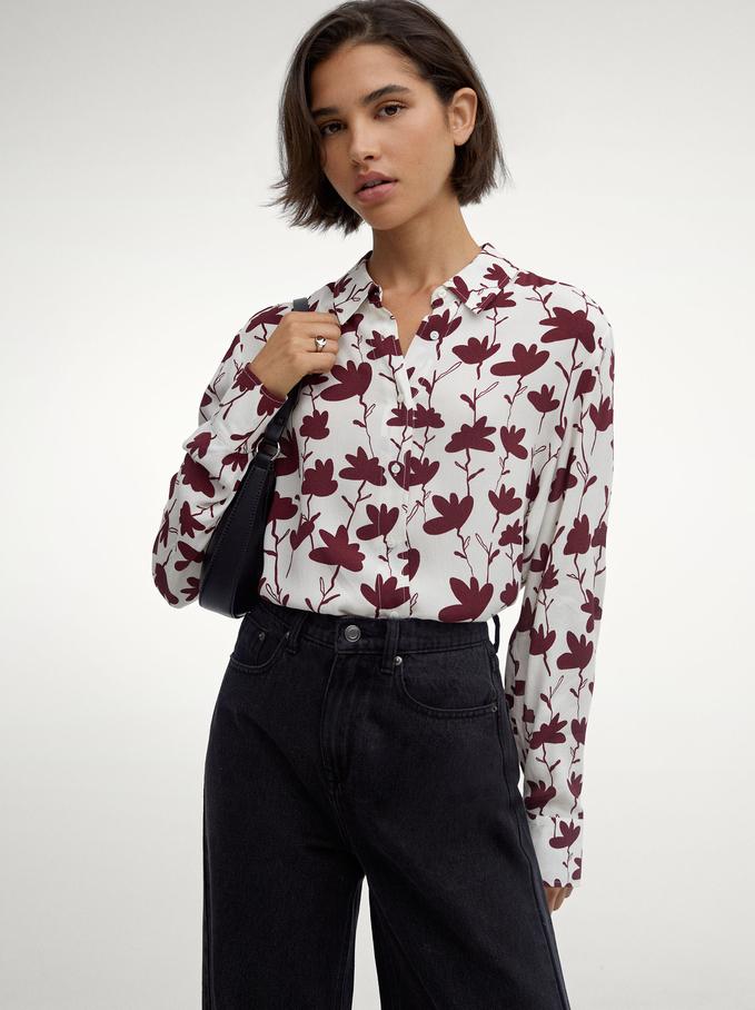 Floral Print Flowing Shirt, Bordeaux, hi-res