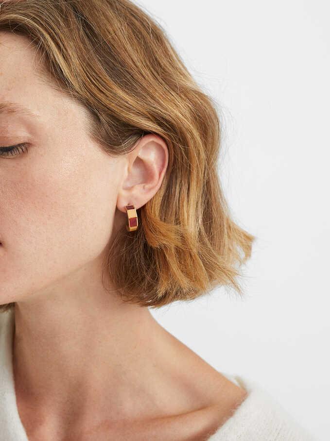 Medium Hoop Earrings With Multicoloured Resin, Multicolor, hi-res