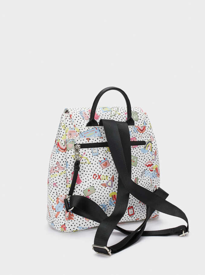 Printed Backpack With Outer Pocket, White, hi-res